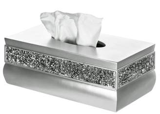 Creative Scents Brushed Nickel Rectangle Tissue Box Cover, Decorative Bathroom Tissues Paper Napkin Holder, Bottom Slider (Silver)