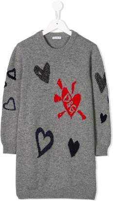 Dolce & Gabbana heart print sweater dress