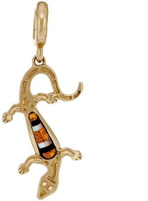 American West Gemstone Lizard Brass Charm