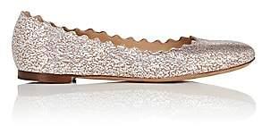 Chloé Women's Lauren Cracked-Foil Leather Flats - Silver