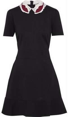 RED Valentino Appliquéd Organza-Trimmed Stretch-Knit Mini Dress