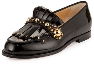 Christian Louboutin Octavian Patent Kiltie Red Sole Loafer, Black $895 thestylecure.com