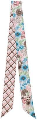 Fendi multicoloured Logo Floral Print Silk Scarf