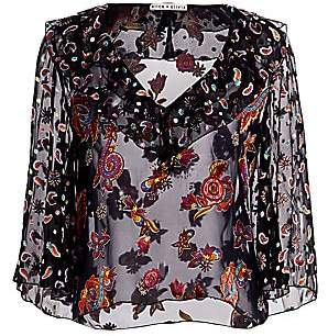 Alice + Olivia Women's Cabella Floral Sheer-Silk Ruffle-Front Bell-Sleeve Blouse
