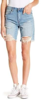 Blank NYC BLANKNYC Denim Cut Off Destroyed Mid Thigh Shorts