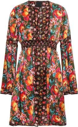 Anna Sui Gathered Floral-print Silk-satin Mini Dress