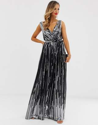City Goddess sequin chiffon wrap maxi dress