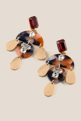 francesca's Sadie Embellished Drop Earrings - Burgundy