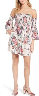 Women's Mimi Chica Floral Print Off The Shoulder Dress $39 thestylecure.com