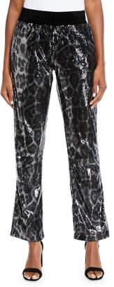 RtA Ash Sequin Leopard-Print Jogger Pants