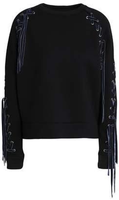 Maje Lace-Up Jersey Sweatshirt