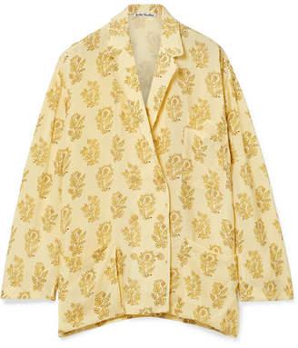 Acne Studios Sumi Oversized Floral-print Twill Shirt - Pastel yellow