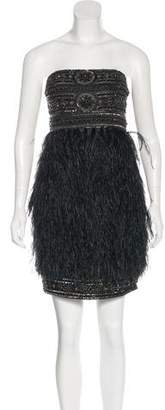 Sue Wong Embellished Feather-Trimmed Dress