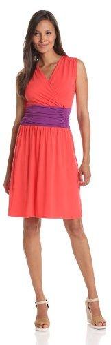 Lilla P Women's Stretch Color Block Shirred Waist Cross Front Dress