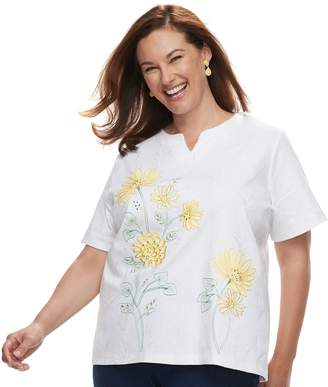 Alfred Dunner Plus Size Studio Floral Embroidery Top