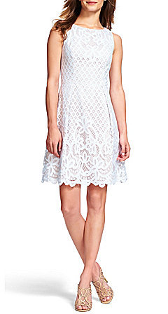 Adrianna Papell Adrianna Papell Lace V-Back Fit & Flare Dress
