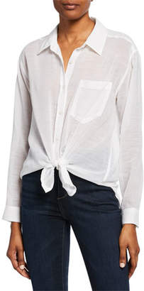 7 For All Mankind Button-Down Knot-Front Long-Sleeve Cotton/Linen Shirt