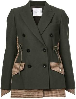 Sacai plaid and solid mix blazer