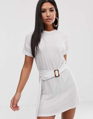Asos Design DESIGN rolled sleeve rib t-shirt dress with faux tortoiseshell belt