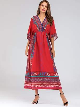 Shein Aztec Print Elastic Waist Kimono Sleeve Maxi Dress