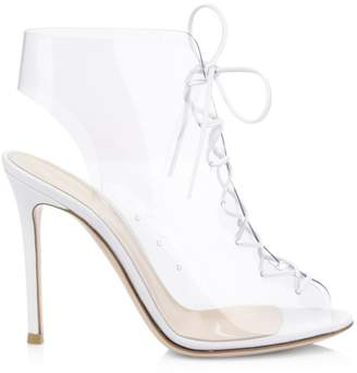 27c88cdf68f Gianvito Rossi Plexi Lace-Up High Heel Booties