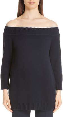 Lela Rose Contrast Neck Off the Shoulder Wool & Cashmere Sweater