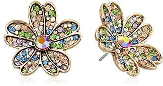 Betsey Johnson Womens Blooming Betsey -Colored Stone Flower Stud Earrings