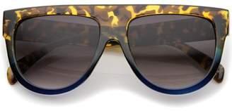 sunglass.la Large Oversize Wide Temple Flat Top Aviator Sunglasses 57mm (Matte Black / Lavender)
