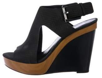 Michael Kors Leather Ankle Strap Wedges Black Leather Ankle Strap Wedges
