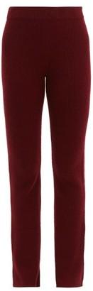 The Elder Statesman Rib Knitted Cashmere Flared Trousers - Womens - Burgundy