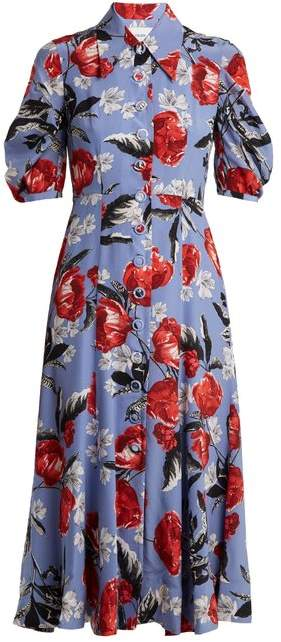 Gisella floral-print crepe de Chine dress