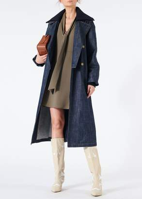 Tibi Raw Denim Trench with Removable Collar