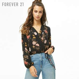 Forever 21 (フォーエバー 21) - Forever 21 フラワープリントフェイクラップブラウス