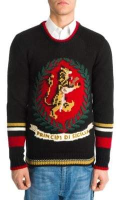 Dolce & Gabbana Lion Knitted Wool Pullover