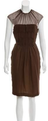 J. Mendel Short Sleeve Midi Dress Brown Short Sleeve Midi Dress