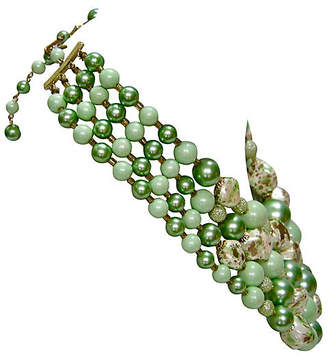 One Kings Lane Vintage 1950s Jade Glass Beaded Necklace - Wisteria Antiques Etca