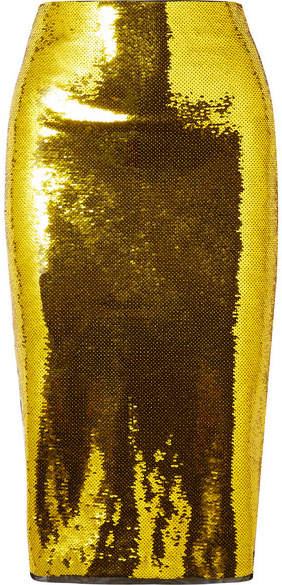 TOM FORD - Mesh-trimmed Sequined Stretch-silk Midi Skirt - Gold