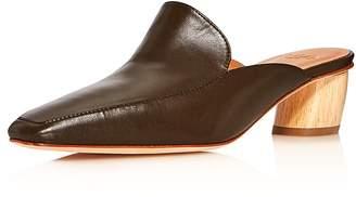 LoQ Women's Belen Square Toe Leather Low-Heel Mules
