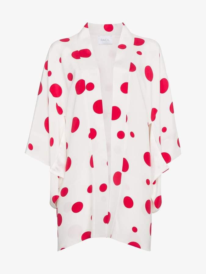 Racil Silk kimono with red circles