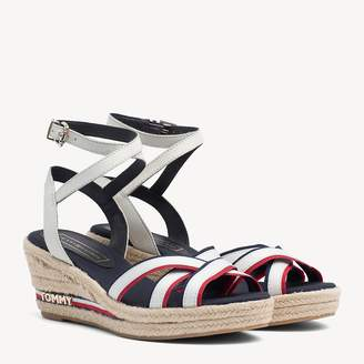 81a970d9cba0 Tommy Hilfiger Strappy Signature Tape Wedge Heels