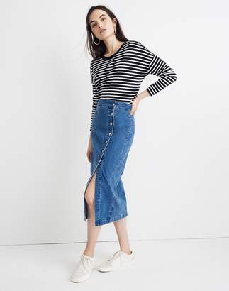 Madewell Stretch Denim Side-Button Midi Skirt