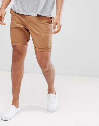 Asos Design DESIGN skinny chino shorts in camel