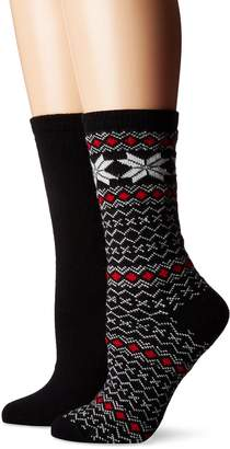 Hue Women's Fairisle Tipped Boot Sock 2 Pk