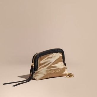 Burberry Small Zip-top Leather-trimmed Technical Nylon Pouch $150 thestylecure.com