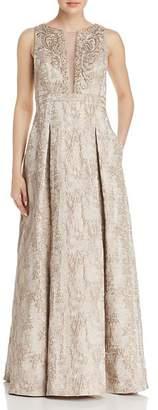 Eliza J Embellished Metallic Gown
