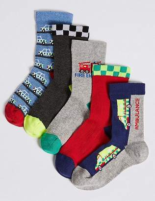 Marks and Spencer 5 Pairs of Transport Ankle Socks (1-6 Years)