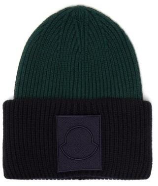 Moncler Logo Applique Wool Beanie Hat - Mens - Navy