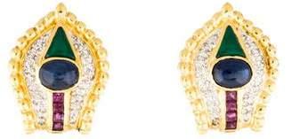 18K Sapphire, Ruby & Diamond Ear-Clips