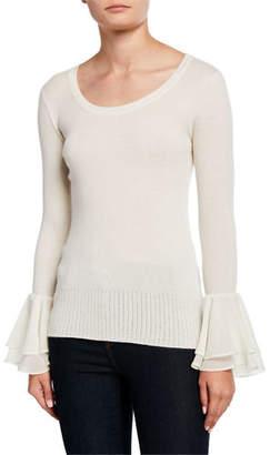 Neiman Marcus Ribbed Cashmere Scoop-Neck Ruffle-Cuff Sweater