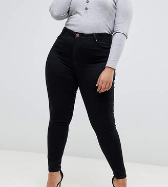 Asos DESIGN Curve Ridley skinny jeans in clean black